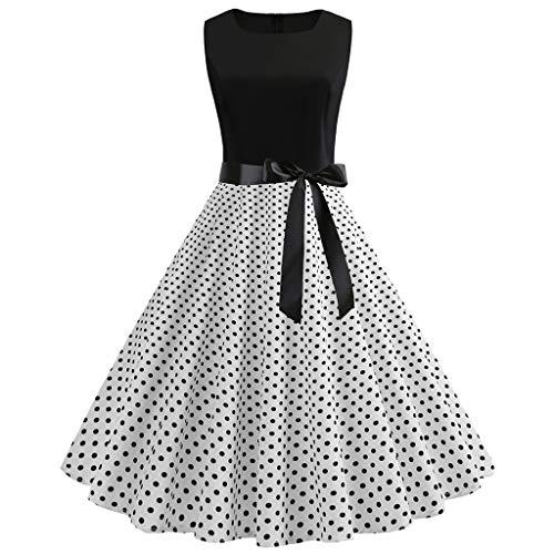 Zegeey Damen Abendkleid Vintage 50er Jahre Retro äRmellose Rundhals Gitter A-Linie Party Kleider Cocktailkleider Festlich Skaterkleid(G-Weiß,EU-44/CN-2XL)