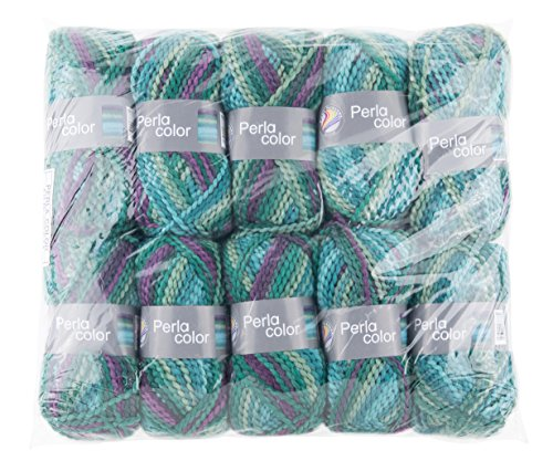 Gründl Perla Color, Vorteilspackung 10 Knäuel à 100 g Handstrickgarn, Polyester, Petrol-lila-Mix, 39 x 20 x 8 cm -