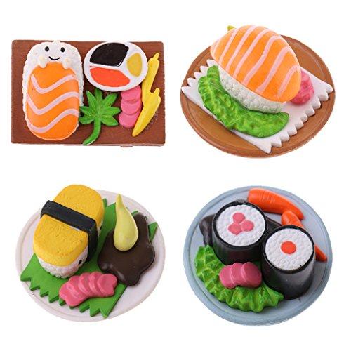 Sharplace 4 Unids 1:12 Juguete Mini Comida Japonesa Salmón Sushi de Resina en Miniaturas Decoración de Dollhouse