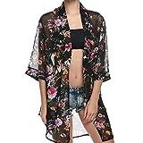 Blouses à Manches Longues en Mousseline De Soie Top Tunique Haut en CrèMe Solaire Mode Chemisier Imprimé Floral pour Femmes