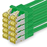 Cat.7 Netzwerkkabel 1m - Grün - 10 Stück - Cat7 Ethernetkabel Netzwerk LAN Kabel Rohkabel 10 Gb/s (Sftp Pimf) Set Patchkabel mit Rj 45 Stecker Cat.6a