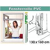 Insektenschutz PVC-Rollo, Maße: 130 x 160 cm, Alu-Rollo fürs Fenster, Alu-Fenster-Rollo