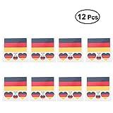 LUOEM Deutschland Fahne Flagge Temporäre Tattoos Aufkleber WM Flagge Länder Fanartikel Fussball WM 2018 12 Stücke