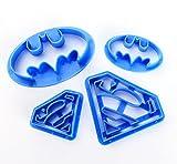 ilauke Cortadores de Galletas Moldes de Repostería Superman Batman Superheroes para Decoración de Pastel Cookie Fondant, 4 Piezas