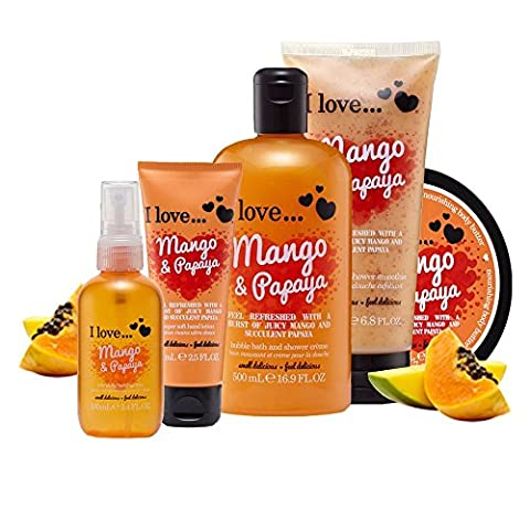 I Love… Mango & Papaya Ultimate Collection Pack Contains Shower Gel, Body Butter, Shower Smoothie, Hand Lotion and Body Spritz