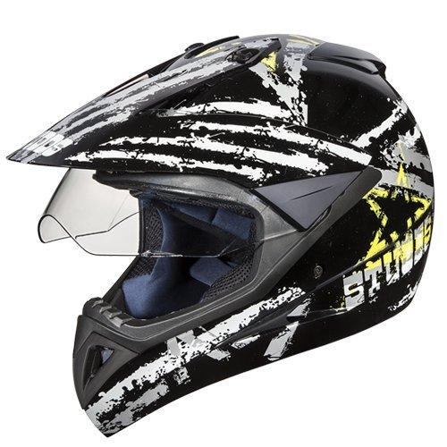 Studds Motocross D5 Helmet With Visor (Black N4, M)