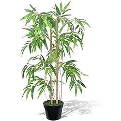 Festnight Kunstpflanze Zimmerpalme Künstliche Bambusbaum mit Topf 90cm