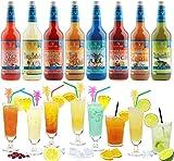 Cocktail Mix Set für 130 fertige Cocktails - 8 Flaschen à 0,7 l Cocktail PreMix mit allen Zutaten - Einfach mit Saft & Eis auffüllen, fertig
