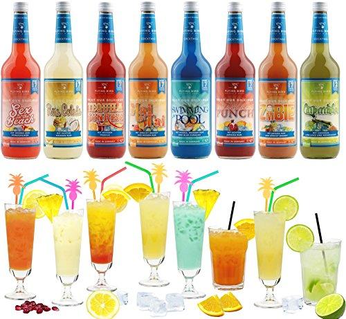 Cocktail Mix Set für 130 fertige Cocktails - 8 Flaschen à 0,7 l Cocktail PreMix mit allen Zutaten - Einfach mit Saft & Eis auffüllen, fertig (Saft-drink-mix)