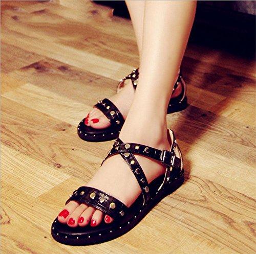 Frau offene Sandalen flache beiläufige Strandschuhe flache Schuhe wilder Student Schlitz Black