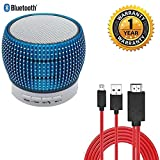 #9: Raptas® Thread Mini Wireless Bluetooth Portable Speaker Colorful Lights Outdoor Stereo Subwoofer with FM and Micro HDMI Cable Adapter HDTV, Power Charge Smartphone, Length 2.0M. (One Year Warranty)