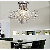 ALFRED® Chrome Finish Crystal Chandelier with 3 lights, Mini Style, Flush Mount ,Ceiling Light Fixture, for Study Room/Office, Dining Room, Bedroom, Living Room