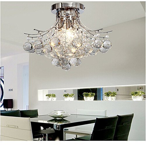 ALFREDR Chrome Finish Crystal Chandelier With 3 Lights Mini Style Flush Mount Ceiling Light Fixture For Study Room Office Dining Bedroom