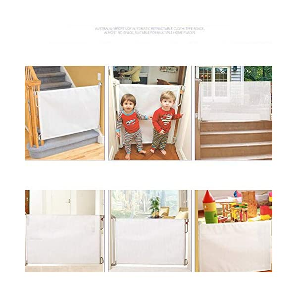 Child safety gate fence stair fence pet fence pull-up cloth fence gate Retractable Baby Gate White AA-SS-Safety Door ✔Unique, advanced locking system: No need to fully retract each time you walk through gate ✔Screw fitting retractable gate. Retracts fully out of the way when not in use ✔Easy installation (Fittings and Installation Template included) 9