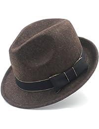 IWGR Cappello di Feltro da Donna Chapeau Femme Cappello di Fedora Trilby  Church Derby Cloche Top cap con Moda in Pelle (Colore… 9b972322304f