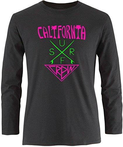 EZYshirt® California Surf Crew Herren Longsleeve Schwarz/Pink/Neongr