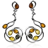 Multicolor Amber Sterling Silver Large Earrings