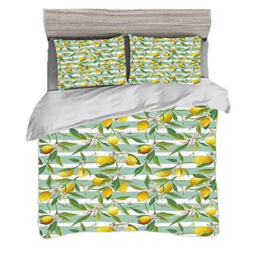 Bettwäscheset (240 x 260cm) mit 2 Kissenbezügen Natur Digitaldruck Bettwäsche Blühender Zitronenbaum auf gestreifter Malerpinsel-Hintergrund-immergrüner Kunst, Fern Green Seafoam Yellow Pflegeleicht a