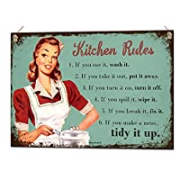 Beenanas Kitchen Rules Quote Metal Sign Wall Art Home Decor Tin Plaque