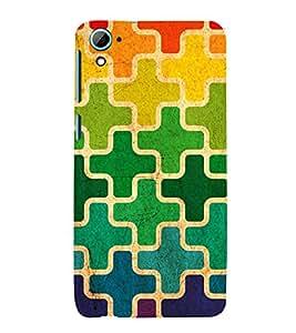 MULTICOLOURED CROSS PUZZLE PATTERN 3D Hard Polycarbonate Designer Back Case Cover for HTC Desire 826 :: HTC Desire 826 Dual Sim :: HTC Desire 826 DS (GSM + CDMA)