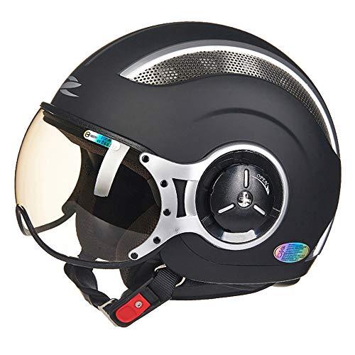 FLYFEI Mezzo Casco da MotoCasco Summer Open FaceD.O.T ApprovatoCasco Moto Harley TraspiranteCasco PilotaSkateboard Ciclomotore FuoristradaBambini Adulti Nero Opaco,XL(59~60cm)