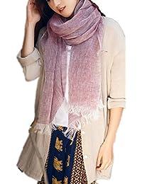 Prettystern - moucheté couleur unisexe et femmes 100% lin hommes d'été cool longue écharpe
