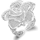 Vollter Bijoux Bague Fleur Rose Forme Finger argent 925 Bague Femme en Argent