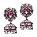 #4: Trijya Exports Designer Dancing Peacock RUBY Stone Look Like Original Silver Oxidised Jhumka Earrings for Womens & Girls
