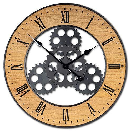 levandeo XXL Wanduhr 56 cm Rund Zahnrad Großuhr Industrie-Design Industrial Uhr Holzuhr Holz Deko Metall Braun Schwarz Wanddeko