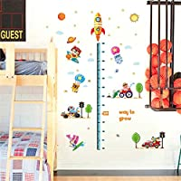 Cartoon Baby Growth Chart Wall Stickers Animals Riding Vehicles Car Sailing Rocket Aircraft Cloud Decor Height Measure Decals