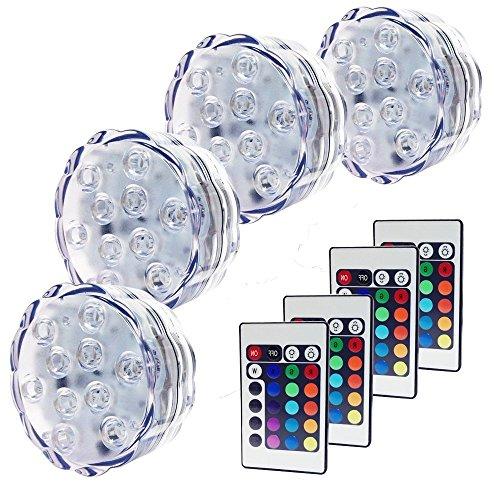cht mit Fernbedienung, RGB Multi Farbwechsel Wasserdichte LED Leuchten Teichbeleuchtung für Vase Base, Dekoration [Energieklasse A++],4er-Pack ()