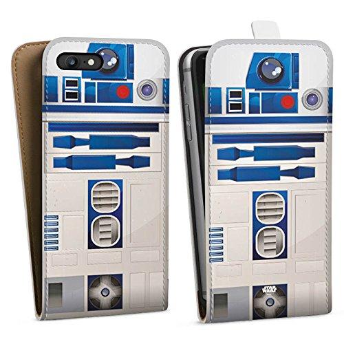 Apple iPhone 5s Hülle Case Handyhülle Star Wars Merchandise Fanartikel R2D2 Downflip Tasche weiß