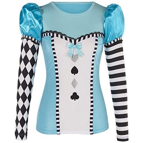 Fancy Me Damen Langärmlig Wunderland Blau Schwarz Weiß Alice Buch Film Karneval Halloween Kostüm Kleid Outfit Top UK 8-18 - Small-Medium (UK 8-10) (Halloween-film Top 10)