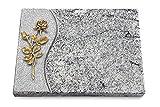 Generic Grabtafel, Grabplatte, Grabstein, Grabkissen, Urnengrabstein, Liegegrabstein Modell Wave 40 x 30 x 3-4 cm Viskont-White-Granit, Poliert inkl. Gravur (Bronze-Ornament Rose 13)