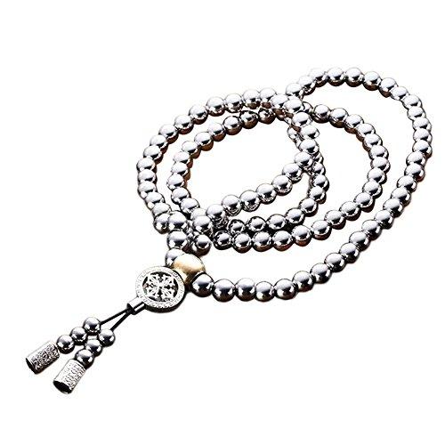 Prom-near Buddha Kette Selbstverteidigung Waffen Edelstahl 108 Buddha Perlen Halskette Selbstverteidigung Kette Armband Selbstverteidigung Zubehör Titan Stahl Metall Peitsche