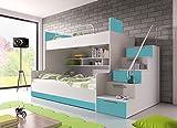 Hochglanz Etagenbett Doppelbett ALEX mit Regalen, Treppe und Bettkasten in weiß / schwarz / rosa / grau / violett / blau (blau)