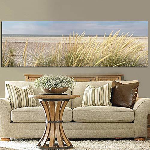 Wall Canvas Art Seascape Beach Paesaggio Pittura Poster Hd Stampa Sky Island Dune di sabbia Coda Erba Immagini da parete per soggiorno 60x180 cm Senza co