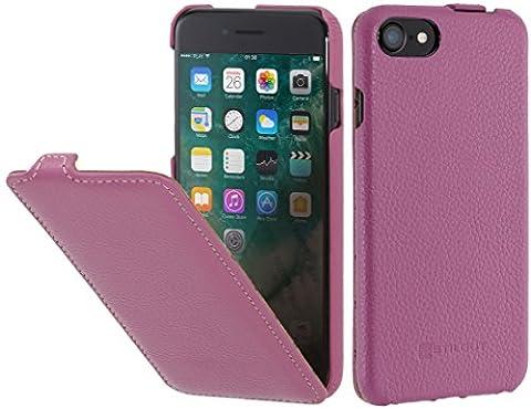 StilGut UltraSlim, housse pour iPhone 8 & iPhone 7 en cuir. Etui de protection à ouverture verticale et fermeture clipsée en cuir véritable pour iPhone 8 & iPhone 7 (4,7 pouces), Rose