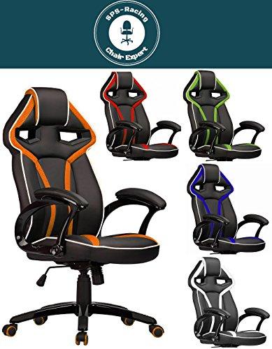 Master Racing Bürostuhl Chefsessel Drehstuhl Schreibtischstuhl Gaming Zocker Stuhl Office Chair (schwarz/orange)