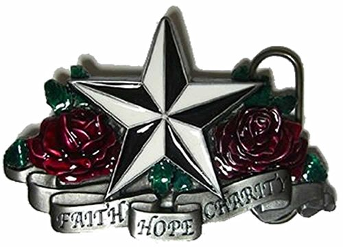 FAITH, HOPE & CHARITY' Fibbia per Cintura + espositore