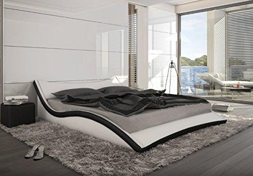 Designer Leder Bett Polsterbett geschwungenes Lederbett weiss mit schwarz wellenförmig modern gewelltes Bett günstig (180x200 cm) -