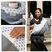Mania Stillschal Stilltuch mit Einschub für Stilleinlage Sterntaler grau in Größe 2, für Frauen mit Konfektionsgröße L-XL Handarbeit!