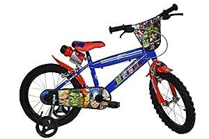 AVENGERS Original 14 inch KIDSBIKE boy child-bike childrenbike bicycle toybike blue training-wheels water-bottle mudguard by DINO BIKES