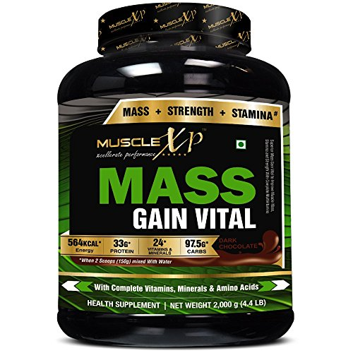 MuscleXP Mass Gainer Vital – 2Kg (4.4 lbs), Dark Chocolate – With Whey Protein & MultiVitamins