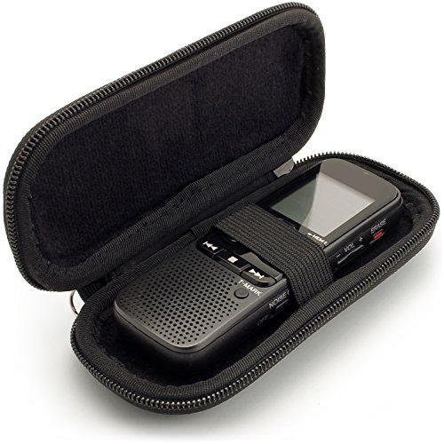 igadgitz Schwarz EVA Reisverschluss Tragbare Hart Schutzhülle Etui für Digitale Diktiergeräte (Innenmaße: 125x50x22mm)