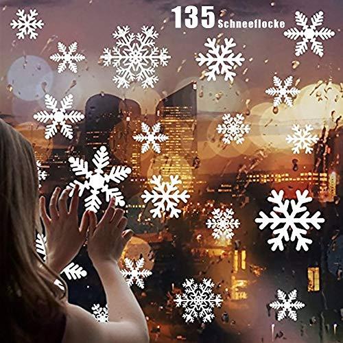 ZoneYan Vetrofanie Fiocchi di Neve per Natale 135 Fiocco di Neve Stickers da Vetro 5 Fogli Adesivo Fiocco di Neve Fiocco di Neve Decorazioni