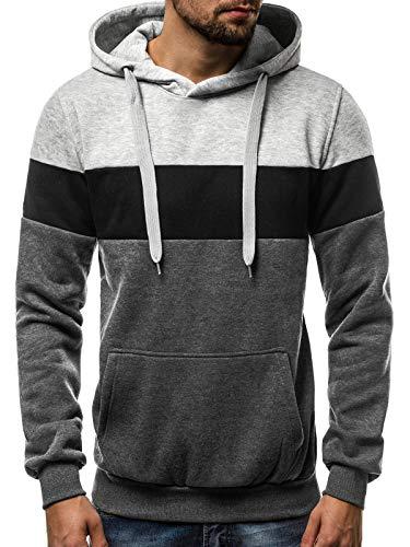 OZONEE Herren Kapuzenpullover Sweatshirt Pullover Aufdruck Motiv Crewneck Modern Täglichen Streetwear Sport Langarmshirt 777/701B DUNKELGRAU 2XL