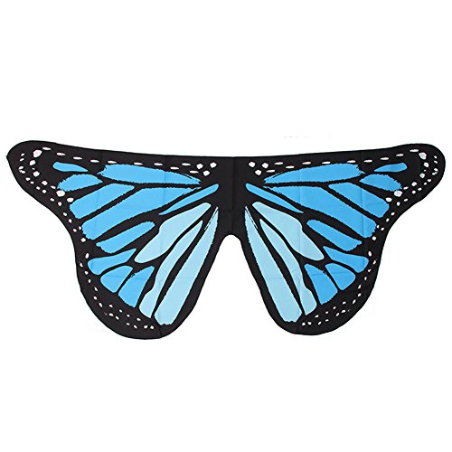Blue Vessel Damen Stoff Soft Schmetterling Flügel Schal Fairy Pixie Kostüm Zubehör (Blaue Pixie Kostüm)