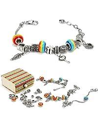 Sun studio Kit Bijoux de Bracelets à Breloques,Coffret Cadeau Bijoux Chaînes Serpents Plaquées Argent et Perles Européennes pour Filles Ados