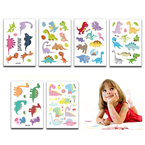Tumao 24 Blatt Dino Kindertattoos Sticker Aufkleber, Dinosaurier Party Supplies Party Gefälligkeiten,Removable Tattoos Aufkleber für Kinder Mädchen Mitgebsel Kindergeburtstag Party.